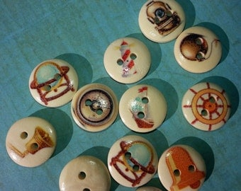 PAINTED WOOD BUTTON Lot,Nautical Mariner Buttons,Craft Buttons,Sewing Buttons,Scrapbook Buttons,Patterned Buttons,15mm Two Hole Buttons