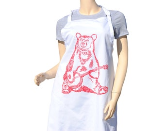 Kitchen Apron - BBQ Apron - Cooks Apron - Long Apron - Kitchen Gifts - Cooking Gift Ideas - Birthday Gift Ideas - Red Banjo Bear Apron