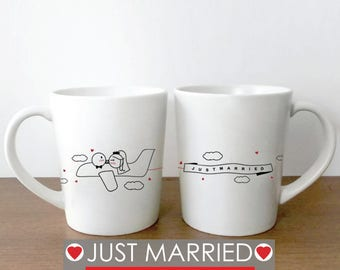Gift for Bride, Gift for Groom, Just Married Gift His and Hers Coffee Mugs, Wedding Coffee Mugs, Wedding Shower Gift, Bride and Groom Gift