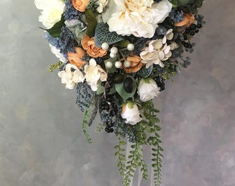 SILK bridal WEDDING bouquet Ivory/Blue cascading