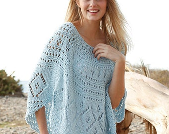 Hand Knitted poncho in lace pattern Size S - XXXL .