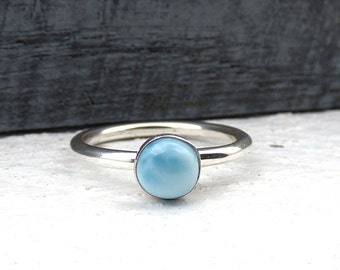 Natural Larimar Ring, Sterling Silver Larimar Ring, Dominican Republic Stone, Everyday Stacking Ring, Blue Natural Stone Jewelry