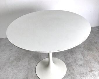 "Vintage Mid Century Modern 36"" Round Tulip Dining Table By Burke, Saarinen Style"