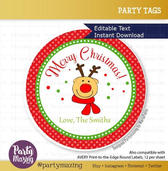 Editable Reindeer Christmas Favor Tag Printable Gift Tag