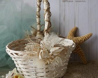 Beach Wedding Flower Girl Basket Beach Wedding Shells and Starfish Wedding Shells Seashell Beach Wedding Basket