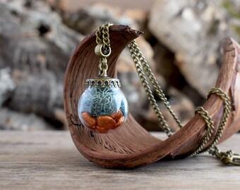Moss necklace, Moss terrarium pendant, Glass vase necklace, True nature necklace, Orange necklace, Teal necklace, Preserved nature pendant