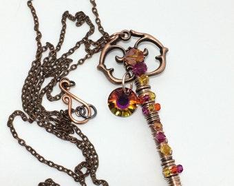 Swarovski Volcano Copper Key Necklace ~ Skeleton Key Necklace ~ Wire Wrapped Key Necklace ~ Crystal Key Necklace ~ Wire Wrapped Jewelry