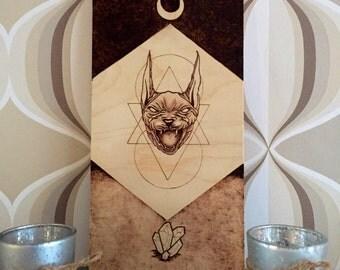 Sphynx - Sacred Art - Wood Burning - Dark Art - Pyrography Art - Geometry Decor - Modern Art - Pyrografie Kunst - Hout Branden - TimberleeEU