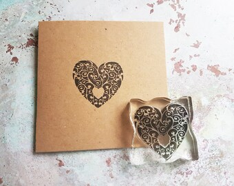 Heart stamp, rubberstamp, Wedding stamp