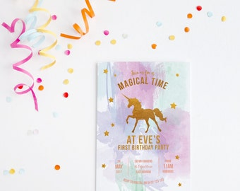 Gold Unicorn ~ Glitter Unicorn ~ Rainbow Unicorn ~ Unicorn Birthday Party ~ Unicorn 1st Birthday Invitation ~ Gold Foil Invitation