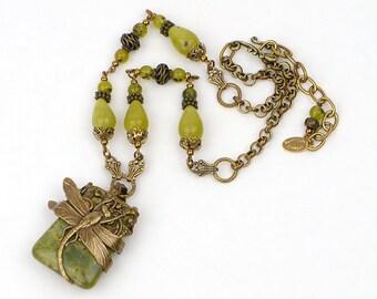 Dragonfly Jewelry Necklace, Women's Boho Statement Necklace, Boho Green Stone Necklace, Dragonfly Necklace, Boho Gift Ideas, Jewelry Gift Me