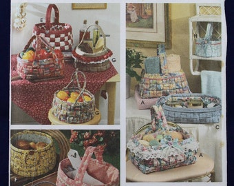 Sewing Pattern for Woven Fabric Baskets - Simplicity 9420
