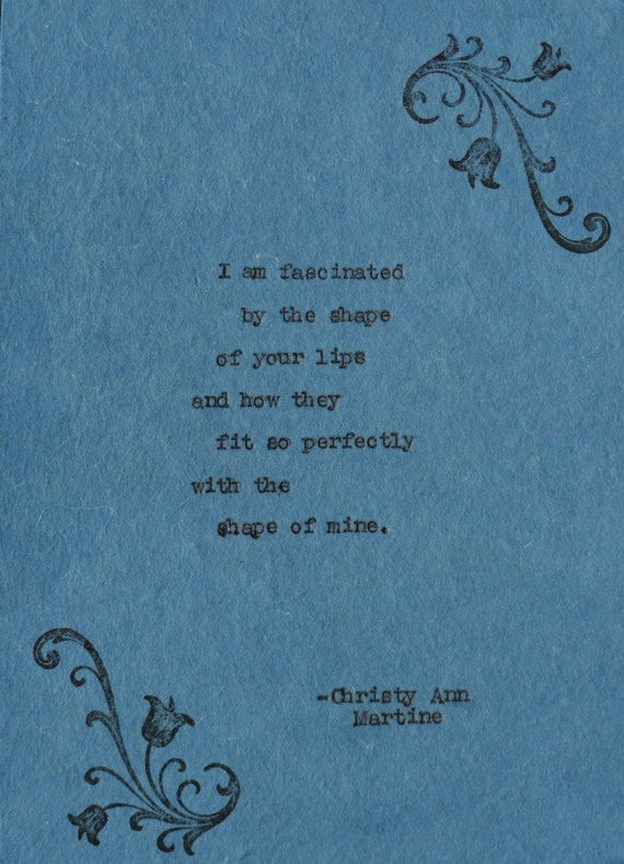 Cotton Anniversary Gift - 2nd Year Cotton Gift - Love Poem Typed by Poet with Vintage Typewriter onto Blue Cotton Paper