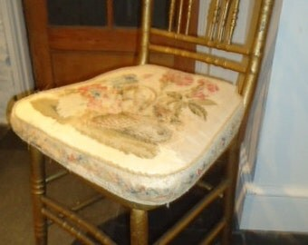Antique Nineteenth Century French salon chair in gilt faux bamboo