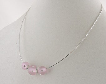 """Sterling Silver Choker With Pink Glass Balls And Rhinestones 17"""""""