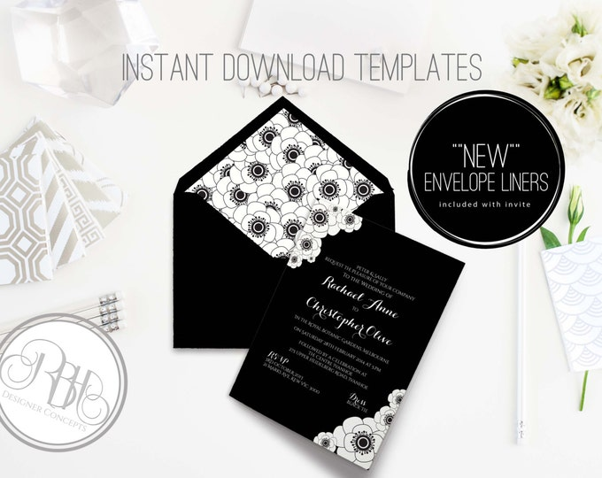 Black & White Anemone Wedding Invitation/Envelope Liner/INSTANT DOWNLOAD Template/5x7/PDF/Psd Editable Text Only/Anemone-Delta