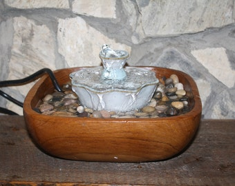 Wooden Bowl Water Fountain