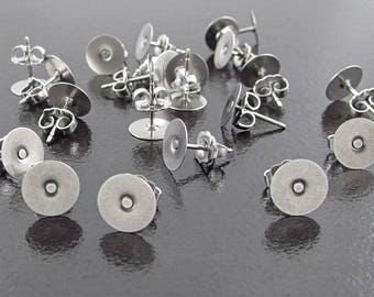 "144 8mm Earring Posts and Backs, Surgical Stainless Steel 3/8"" Posts, Flat Pads, Premium Scalloped Butterfly Clutch, SF225GR"
