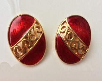 Large Red Clip On Earrings Vintage Costume Jewellery  Red Enamel Earrings Infinity Earrings Lipstick Red Clips Gold Red Clip On Chanel Style