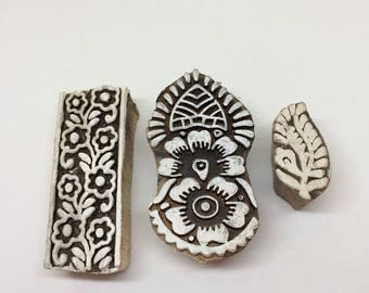 Set of three wood printing blocks, traditional wood stamp India 129