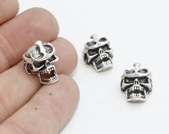 10 Pcs Vampire Skull Beads , Antique Silver Skull Beads, Men Bracelet Charms, KDR114