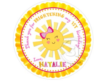 "Custom Printable Sunshine Birthday 2.5"" Thank you Tags-Personalized Birthday 2.5 inches Tags- Stickers- You are my Sunshine Favor Tags"