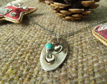 Silver Spiral/Oval Pendant with 5mm Turquoise Cabochon. Patina with Matching Silver Chain. Hallmarked.