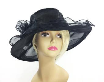 Elegant Ladies Sheer Black Tea Party Hat, Black Summer Hat, Dress Up Hat, Black Funeral Hat, Tea Party Hat #A773