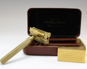 1930s Vintage Gillette Valet Auto Strop Single Edge Safety Razor Original Box