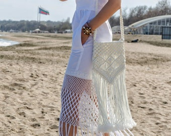 Macrame Purse, Crochet Handbag, Hippie Purse, Cross Body Bohemian Purse, Beach Bag, Sac à main hippie