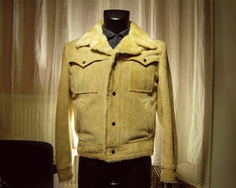 Vintage 70s Shearling coat jacket, mark Campus Rugged Country / Groovy 70 s Sweden Guys Coat w Plush Lining SZ38