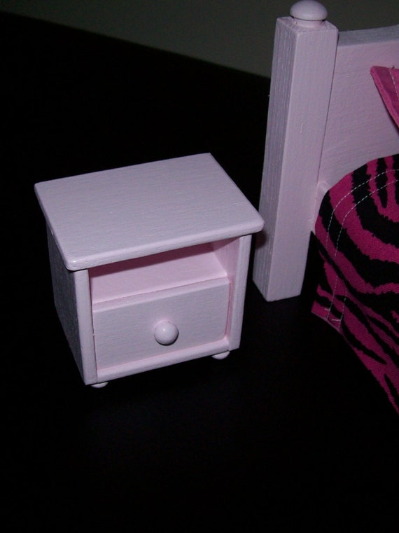 Pink Bedside Table: Pink Bedside Table With Real Pull Out Drawer/ 1:6 Scale