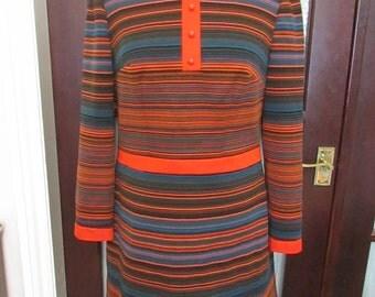 1960s Diolen Loft teal/orange/brown stripe long-sleeve mini dress