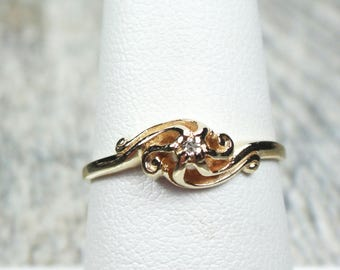 Antique Diamond Ring Vintage Diamond Ring Petite Engagement Ring Gold Swirl Promise Ring Pre-Engagement Ring Art Nouveau Solitaire Size 7.25