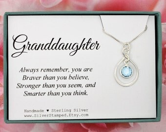 Granddaughter gift etsy gift for granddaughter gift sterling silver swarovski birthstone necklace you are braver than you think christmas negle Gallery