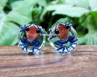 "Dichroic Red Poison Tree Frog Plugs 00g 7/16"" 1/2"" 9/16"" 5/8"" 3/4"" 1"" 9.5 mm 10 mm 12 mm 14 mm 16 mm 18 mm 20 mm 22 mm 25 mm"