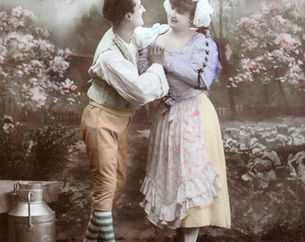 Charming postcard // Original antique RPPC unique postcard // Vintage tinted photo postcard // Striped socks, milk maid