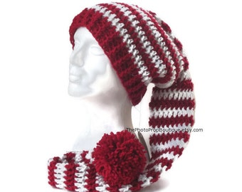 "36"" Long toboggan hat~Baby, Child, Adult Sizes~Red & White stripes Santa, elf pixie stocking cap, big pom pom, FREE SHIPPING"