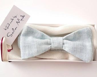 Men's Light Blue Bow tie Summer Bow tie - Cotton Bow tie  - Sky Blue Bowtie - Anniversary Gift for Him under 30