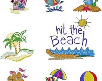 Beach Embroidery Set, 8 Files