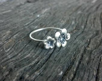 Dainty Flower Ring   Cherry Blossom Ring   Botanical Jewelry   Floral Ring   Sterling Nature Ring   Feminine Jewelry   Layering Ring