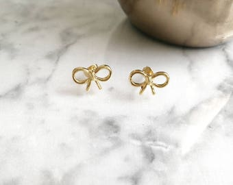 Bow Stud Earrings, Bow Studs, Gold Bow Studs, Gold Bow Earrings, Tiny Bow Studs, Tiny Bow Earrings, Bow Earrings, gift for her, Bow Tie Stud