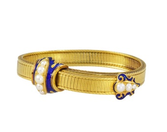 Victorian gold, pearl and blue enamel bracelet, circa 1860.