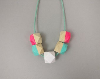 Geometric Necklace - Neon Pink White Mint | Statement Necklace | Gift for her | Geometric Jewellery | Beaded necklace | Minimalist necklace