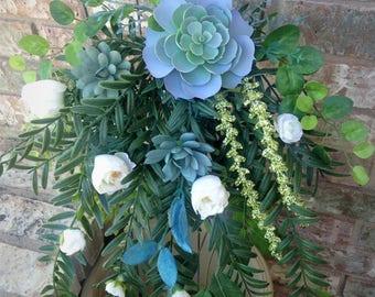 Tiffany Blue Cascading  Bouquet