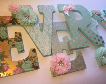 Mint and pink girls nursery letters, green and pink letters, mint green nursery decor, pink nursery decor, mint and gold letters, gold baby