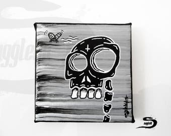 Black skull art - Gothic dark art painting - Evil macabre occult horror morbid death creepy art - Original home wall decor - Black and white