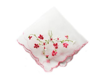 Embroidered Pink Floral Handkerchief, Pink Scalloped Edge Shabby Chic Hankie
