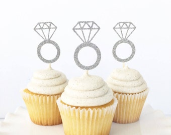 Diamond Ring Cupcake Toppers / Engagement Ring Cupcake Toppers / Engagement Party Decorations / Bridal Shower Dessert Table Decor