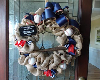 CAN BE CUSTOMIZED with Your Team Colors-Baseball Wreath-If We Don't Answer We're at the Ballfield Wreath- Baseball Decor-Baseball Coach Gift